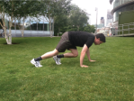 Bear Crawl: Place one hand and opposite foot forward, walk forward changing sides as you go. The lower you go the harder it gets
