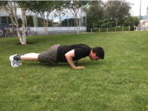 Press-up: Body in a nice straight line, head, shoulder and bum. Arms under your shoulders. Slowly press down keeping your arms nicely tucked in and elbows pointing backwards. Keeping abs braced let the chest lightly brush the floor and push back up.