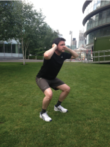 Squat: Feet shoulder width apart, relaxed stance, back in natural state. In one smooth motion bend your knees, sticking out your bum (as if about to sit on a chair), finishing with your thighs parallel to the floor.